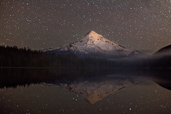 Sparkling Mistress (Ben Canales) Tags: mountain lake snow reflection night oregon portland stars lost star twilight pond mt ben mthood hood starry canales