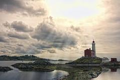 Fisgard Lighthouse (Lee Sie) Tags: sea sunlight lighthouse canada reflection water clouds harbor britishcolumbia landmark victoria fisgard nationalhistoricsite leesie fortrodhill nikond90