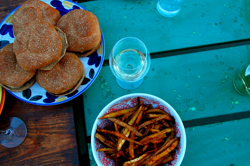 homemade burgers and fries