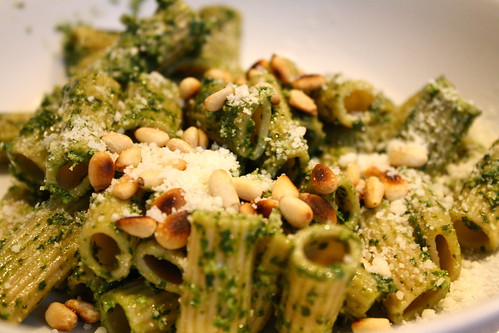 pesto pasta: I fixed this for my gal in Connecticut