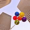(Violet Kashi) Tags: city sky colors buildings balloons telaviv afternoon skyscrapers perspective windy lowpointofview