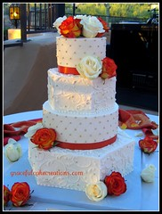 Ivory and Orange Wedding Cake (Graceful Cake Creations) Tags: autumn wedding roses party orange classic geometric cakes rose cake diamonds garden shower gold moments designer antique anniversary unique champagne traditional blossoms cream ivory pearls diamond rosebud special celebration reception butter round quilting hexagon quilted romantic ribbon elegant bridal custom graceful occasion couture autumnal scroll stacked creations fondant buttercream scrolls dragee dragees elegantweddingcake ivoryandgoldweddingcake mainpics gracefulcakecreations gracefulcakecreationscom