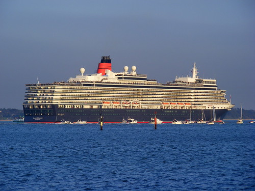 Queen Elizabeth heads down Southampton Water on her Maiden Voyage - 12th October, 2010.