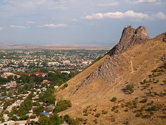 Suleyman-Too in Osh (Evgeni Zotov) Tags: city cloud mountain yellow rock stone town asia cityscape hill mount sacred kyrgyzstan solomon osh suleyman kirghizistan kirgistan kirgizia kirgizistan kirgizi kirgisistan  kirguistan kirghizia krgzistan quirguisto          suleymantoo
