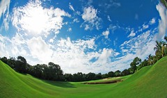 Golf Course (CristalArt) Tags: blue sky white fish green eye del clouds digital canon golf lens mexico photography eos championship colours playa course hills area cancun 8mm carmen 550d mayakoba