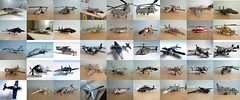 LEGO aircraft and helicopter models