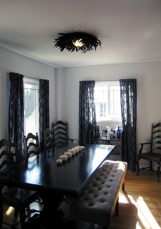 dining room+table with bench+bar+feather ceiling light diy