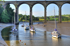 Low tide at the St Germans Viaduct (Baz Richardson (trying to catch up!)) Tags: cornwall stgermans railwayviaducts greatwestrailway yachts rivertiddy