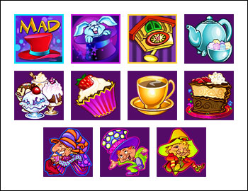 free Mad Hatters slot game symbols
