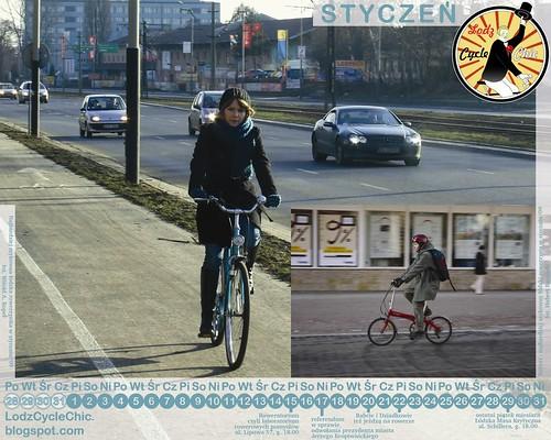 Lodz Cycle Chic kalendarz - styczeń 2010 - rozdz. 1280 na 1024
