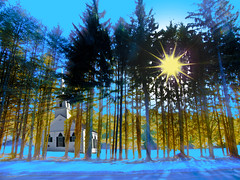 Church of the Winter Trees (Rusty Russ) Tags: new blue trees winter sun lake snow color church yellow photoshop manipulated ma photography star photo yahoo google interesting flickr shine mask image digitalart picasa manipulation scene steeple frame photoediting layer tall salem newsroom amherst retouching photographyart photogallery photoshopart manipulate stumbleupon artphotography colorchange imageprocessing photoimage imageconvert freeimage photographsart photosart freepicture imagecolor photographyartist galleryphoto theartphotography colorhtml pdfimage