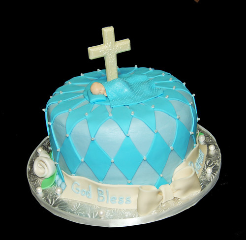Blue Christening Cake with Cross and Sleeping Baby Boy