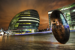 The black egg sculpture (the real saesh) Tags: london canon eos cityhall southbank hdr blackegg 5xp