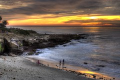 La Jolla Beach Sunset (tmcclenahan) Tags: ocean sunset beach sand scenery pacific sandiego lajolla cliffs hdr