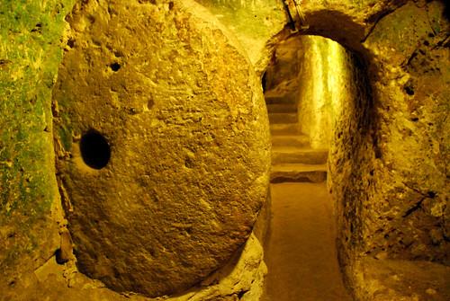 rolling door, derinkuyu underground city, cappadocia
