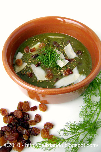 Crema di finocchio e spinaci all'uvetta