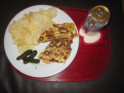 beef quesadillas, chips, pickles