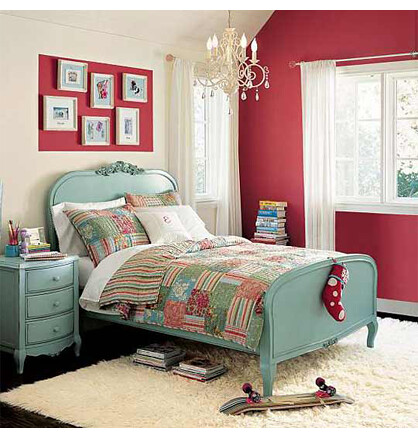 A comfy frieze rug in a cheery bedroom