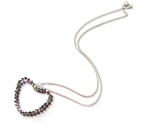 SILVER LOVE HEART SWAROVSKI NECKLACE-sterling silver