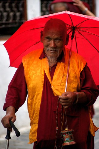 A Venerable Tibetan Lama At The Bodhnath, Nepal