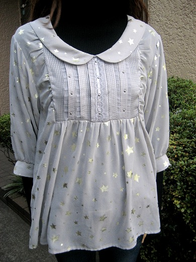Star Print Sheer Blouse from BEAMS