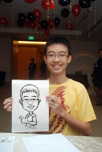 caricature live sketching for birthday party 220110 - 2