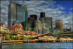 Seattle Skyline (edpuskas) Tags: seattle seascape skyline canon landscape coastal pacificnorthwest hdr downtownseattle photomatix 5dmarkii