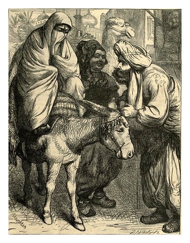 021-La favorita visita el mercado de Bagdag-A.B. Hougston-Dalziel's Illustrated Arabian nights' entertainments (1865)