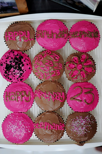 chocolate-pink cupcakes for stephanie's birthday