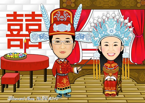 Traditional Chinese wedding couple Q-Digital caricatures 020210