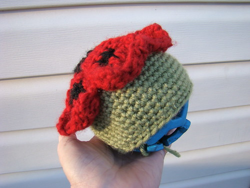 Side view of new crocheted post cap