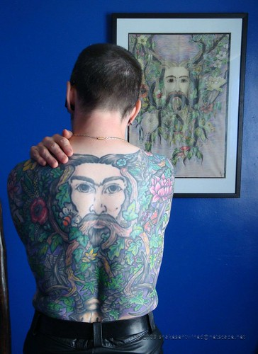 """Greenman"" tattoo - showing the upper half, and the original drawing that"