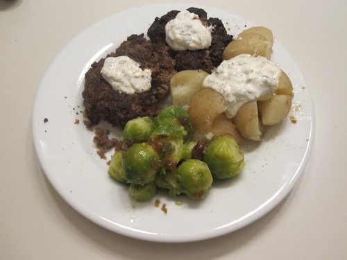 Moose patties, Brussel sprouts, potatoes, dill sauce