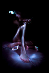 (Jordane_YARDEN) Tags: blue light portrait woman selfportrait lightpainting blur color art feet girl face night nude photography foot experimental body violet corps conceptual nakedwoman nudegirl experimentalart lightgraff jordanegaudenzi