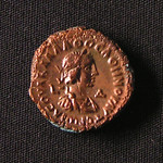 "<b>aur1 Reverse</b><br/> The reverse depicts Vaballathus, son of Zenobia, queen of the Palmyrene Empire from AD267 to 274. Although Vaballathus was a secessionist, Aurelian minted coins with his image on them recognizing his rule, likely as a token of peace. At this time Aurelian was fighting the Gallic Empire in the west, and didn't want to fight both secessionist empires at the same time. The year LΔ indicates the fourth years of Vaballathus' reign, placing this coins mint date in AD270.  Donated by Dr. Orlando ""Pip"" Qualley<a href=""http://farm5.static.flickr.com/4019/4351358561_3bf9d11597_o.jpg"" title=""High res"">∝</a>"