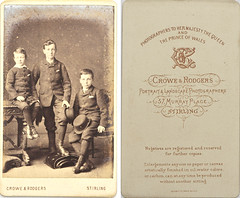 Unknown portrait of three brothers, almost certainly three of the Dickson boys, by Crowe & Rodgers, Stirling, from mystery album