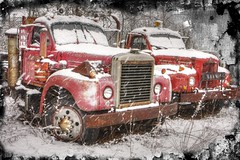 Junkyard lovers (Sunset Sailor) Tags: winter red snow abandoned truck vintage rust valentine explore junkyard mack memorylane ghostworks texturebyskeletalmess