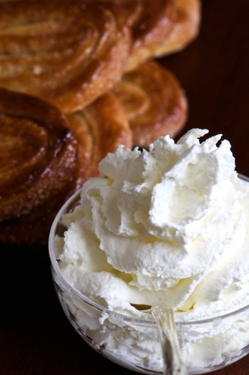 whipped cream and palmiers
