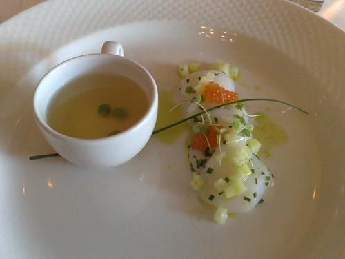 Hervey Bay scallops ceviche, tomato consommé & Yarra Valley salmon roe