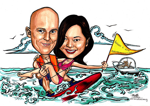 Couple wedding caricatures wakeboarding save the date A4