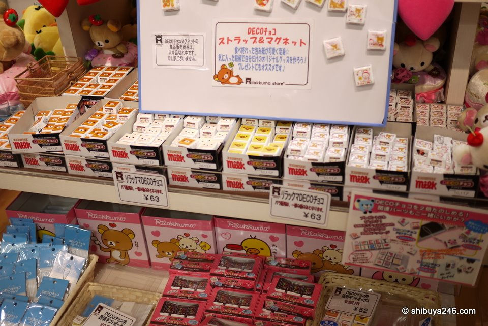 Rilakkuma decoration chocolates, straps, magnets all very popular.