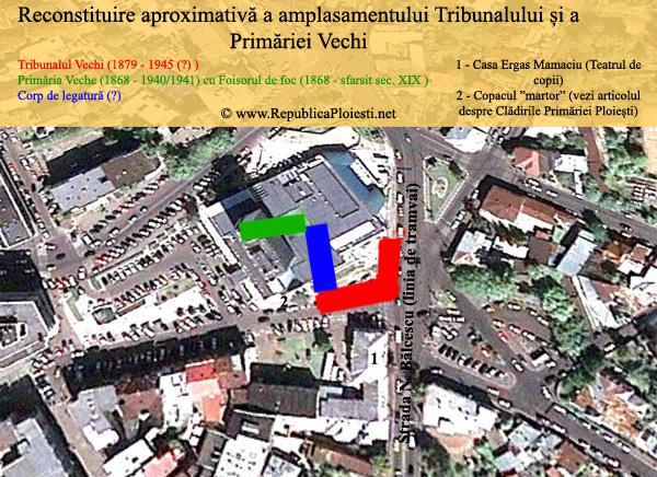 Reconstituire aproximativa a amplasamentului Tribunalului si a Primariei Vechi