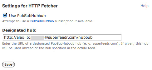 Use Superfeedr as a designated hub with Feeds