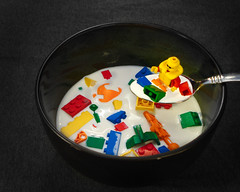 Let Go Of My Lego (GodCent) Tags: color soup milk lego cereal spoon bowl