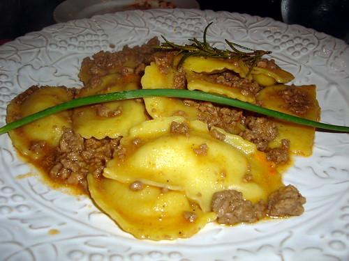 Mushroom Ravioli with Bolognaise