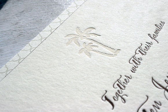 Palm Tree Letterpress Wedding Invitation by Smock