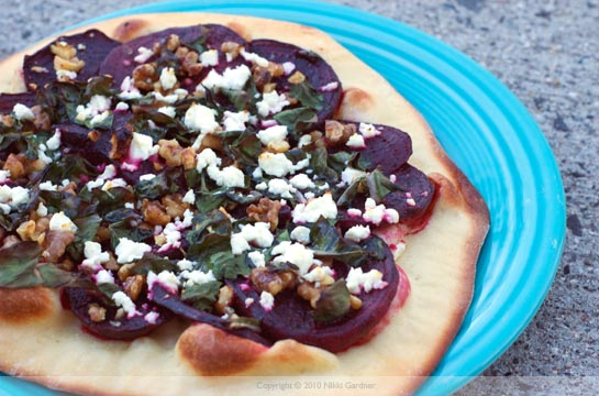 beet, chard, and goat cheese pizzetta