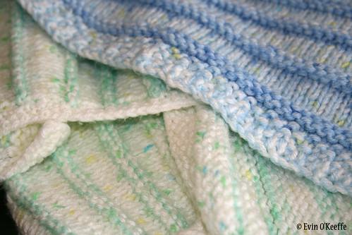 Duet of Handknit Baby Blankets