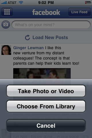 Choose photo from Library (for Facebook iPhone post)