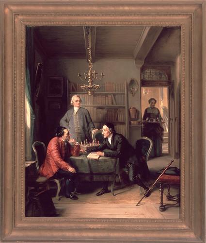 Moritz Daniel Oppenheim, Lavater and Lessing Visit Moses Mendelssohn (1856)